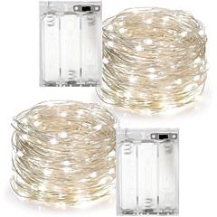 2 pcs 10 m 100led 3aaa 4.5 v batterie alimenté étanche décoration led fil de cuivre lumières chaîne pour fête de mariage de festival