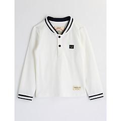 baratos Roupas de Meninos-Bébé Para Meninos Sólido Manga Longa Algodão Blusa Branco 100
