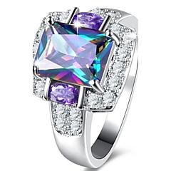 levne -Dámské Zásnubní prsten Kubický zirkon Základní design Klasický Elegantní Módní luxusní šperky Zirkon Slitina Square Shape Šperky Šperky