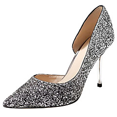 cheap Wedding Shoes-Women's Shoes PU Spring Summer D'Orsay & Two-Piece Basic Pump Heels Cone Heel Stiletto Heel Pointed Toe Closed Toe Sequin for Wedding