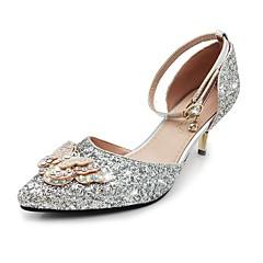cheap Women's Heels-Women's Sparkling Glitter / Paillette Spring / Summer Basic Pump / Ankle Strap Heels Stiletto Heel Pointed Toe Bowknot / Sequin / Sparkling Glitter Gold / Silver / Wedding / Party & Evening / Buckle
