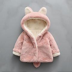 billige Jakker og frakker til piger-Baby Pige Patchwork Langærmet Normal Polyester dun- og bomuldsforet Lyserød