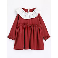 baratos Roupas de Meninas-Para Meninas Camiseta Sólido Outono Algodão Manga Longa Vermelho