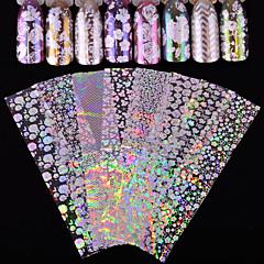 baratos -8 Adesivos para Manicure Artística Purpurina Estampado Acessórios Arte Deco/Retro Efeito 3D Flash Desenhos Animados Artigos DIY Adesivo
