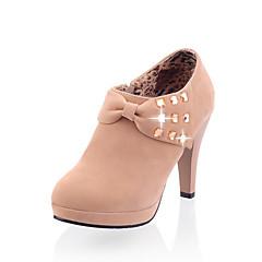 cheap Women's Heels-Women's Suede Fall / Winter Comfort / Fashion Boots Heels Stiletto Heel Pointed Toe Booties / Ankle Boots Bowknot / Zipper Black / Gray / Pink / Dress