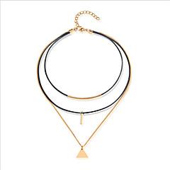 Halsband-Dam Läder Guldpläterad Lager Halsband - Läder Guldpläterad Geometrisk Halsband Till Casual Kontor & Karriär
