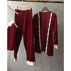 billige Moteundertøy-Dame V-hals Dress Pyjamas - Ensfarget