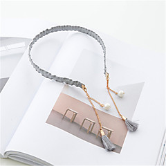 cheap Wigs & Hair Pieces-Pure Handmade Tassel Pearl Pendant Fine Side Hair Band Hoop Simple Retro Card 2PCS
