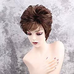 Χαμηλού Κόστους Χωρίς κάλυμμα-Συνθετικές Περούκες Ίσιο Κούρεμα νεράιδας / Με αφέλειες Συνθετικά μαλλιά Μαλλιά μπαλαγιάζ / Πλευρικό μέρος Καφέ Περούκα Γυναικεία Κοντό Χωρίς κάλυμμα / Ίσια