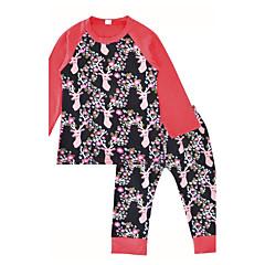 billige Sett med babyklær-Baby Pige Indendørs / Afslappet / Hverdag / udendørs Trykt mønster Langærmet Normal Normal Bomuld Tøjsæt Lyserød