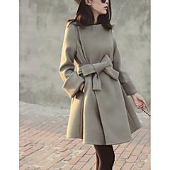 Damen Solide Einfach Freizeit Ausgehen Standard Mantel,Hemdkragen Winter Herbst Baumwolle Acryl Polyester
