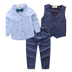 billige Tøjsæt til drenge-Baby Drenge Fest Ensfarvet Langærmet Bomuld Tøjsæt / Aktiv
