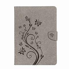 baratos -Capinha Para iPad 10.5 iPad (2017) Flores Carteira Porta-Cartão Com Suporte Flip Estampada Magnética Com Relevo Corpo Inteiro Borboleta