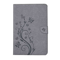 billige Nettbrettetuier-Etui Til Samsung Galaxy Heldekkende etui Tablet Cases Sommerfugl Blomsternål i krystall Hard PU Leather til Tab E 9.6