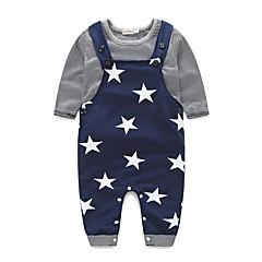 billige Tøjsæt til drenge-Baby Drenge Stribet Stribe Langærmet Bomuld Tøjsæt Sort 100