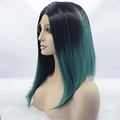 cheap Wigs & Hair Pieces-Synthetic Lace Front Wig Women's Straight Blue Synthetic Hair Ombre Hair / Dark Roots / Middle Part Blue Wig Medium Length Lace Front Black / Smoke Blue