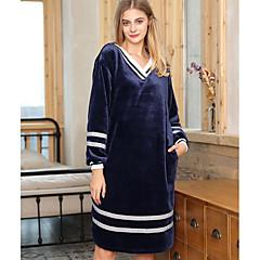 billige Moteundertøy-Dame V-hals Babydukke Og Tøfler Pyjamas - Stripet