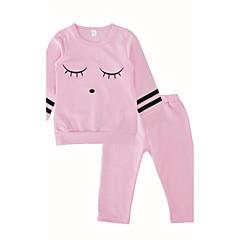 billige Babytøj-Baby Pige Daglig / Afslappet / Hverdag Trykt mønster Langærmet Normal Normal Bomuld Tøjsæt Lyserød