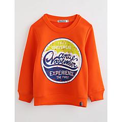 お買い得  男児 トップス-男の子 幾何学模様 コットン ブラウス 秋 長袖 オレンジ