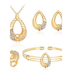 tanie Zestawy biżuterii-Damskie Cyrkon Pokryte różowym złotem Biżuteria Ustaw Zawierać Bransoletka Náušnice Naszyjniki Pierścień - Bling Bling Modny Cyrkon