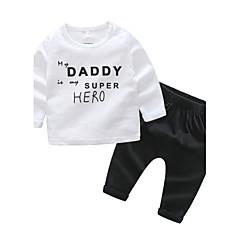 billiga Babykläder Pojkar-Bebis Pojkar Fritid Dagligen Andra Långärmad Normal Bomull Klädesset Vit