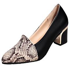 Mulheres Sapatos Couro Ecológico Primavera / Verão Conforto / Plataforma Básica Saltos Salto Robusto Dedo Apontado Preto
