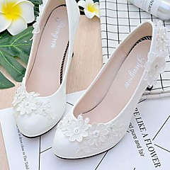 cheap Wedding Shoes-Women's Shoes Lace Leatherette Spring Fall Comfort Wedding Shoes Round Toe Rhinestone Applique Imitation Pearl Sparkling Glitter Flower