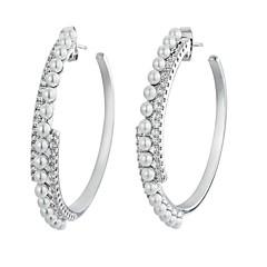 billige Fine smykker-Dame Imiteret Perle Guldbelagt Store øreringe - Simple / Mode Sølv Cirkelformet Øreringe Til Forlovelse / Formel