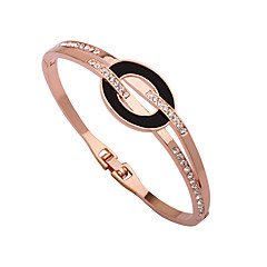 cheap -Women's Cuff Bracelet Bracelet Rhinestone Simple Korean Gold Plated Alloy Circle Jewelry For Daily Going out