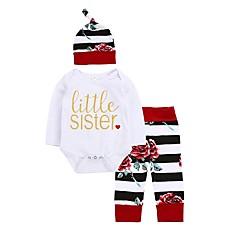 billige Sett med babyklær-Baby Pige Tøjsæt Afslappet/Hverdag Dagligdagstøj Blomstret Stribe, Bomuld Vinter Forår/Vinter Langærmet Blomster Sweet Style Hvid