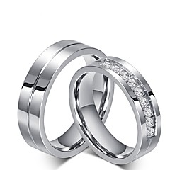 cheap Rings-Men's Women's Cubic Zirconia Rhinestone Cubic Zirconia Rings Set Engagement Ring - Princess Classic Titanium Ring For Wedding Party /