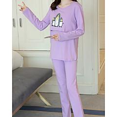billige Moteundertøy-Dame Bomull Rund hals Dress Pyjamas - Dyr, Trykt mønster