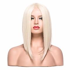 tanie Peruki syntetyczne-Syntetyczne koronkowe peruki Prosto Fryzura Bob Z baby hair Blond Damskie Koronkowy przód Peruka imprezowa Peruka naturalna cosplay peruka