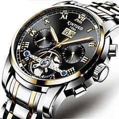 男性用 機械式時計 ファッションウォッチ ドレスウォッチ スケルトン腕時計 リストウォッチ 中国 自動巻き カレンダー クロノグラフ付き 耐水 透かし加工 ステンレス バンド ぜいたく カジュアル ブラック シルバー