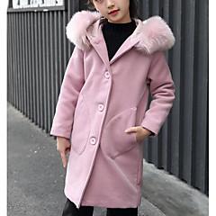 billige Jakker og frakker til piger-Børn Pige Ensfarvet Langærmet Polyester Jakke og frakke Lyserød 140