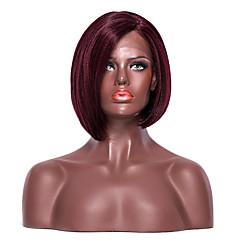 billiga Peruker och hårförlängning-Syntetiska snörning framifrån Yaki Bob-frisyr / Med babyhår Syntetiskt hår Sidodel Röd Peruk Dam Korta L-formad hätta mörkt vin EEWigs