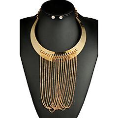 baratos Conjuntos de Bijuteria-Mulheres Diamante sintético Conjunto de jóias - Importante, Oversized Incluir Dourado Para Festa Cerimônia / Brincos / Colares