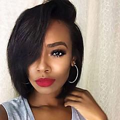 cheap Wigs & Hair Pieces-Human Hair Lace Front Wig Brazilian Hair Wavy Wig Bob 130% Density with Baby Hair Women's Short Human Hair Lace Wig