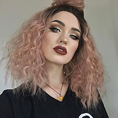 cheap Wigs & Hair Pieces-Synthetic Lace Front Wig Women's Kinky Curly Red with Baby Hair Synthetic Hair Red Wig Medium Length Lace Front Black / Rose EEWigs