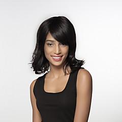 billige Lågløs-Human Hair Capless Parykker Menneskehår Løst, bølget hår Side del Medium Maskinproduceret Paryk Dame