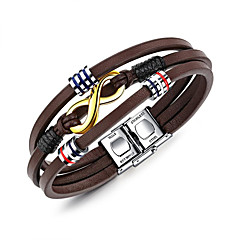 cheap Men's Jewelry-Men's Leather Cool Wrap Bracelet - Casual Geometric Brown Bracelet For Daily Formal