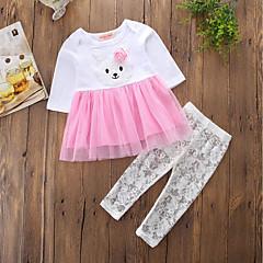 billige Tøjsæt til piger-Baby Pige Aktiv / Punk & gotisk Farveblok / Broderi Langærmet Lang Lang Bomuld Tøjsæt