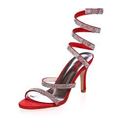 olcso -Női Cipő Szatén Tavasz Nyár Magasított talpú Esküvői cipők Tűsarok Lábujj nélküli Strasszkő mert Esküvő Party és Estélyi Bíbor Forgásc