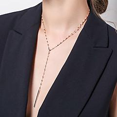 billige Fine smykker-Dame Halskædevedhæng  -  Afslappet Basale Mode Line Guld Halskæder Til Daglig Stævnemøde