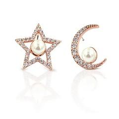 billige Fine smykker-Dame Mismatch MOON / Stjerne Kvadratisk Zirconium / Imiteret Perle Rose Gold / Zirkonium Stangøreringe - Mismatch / Elegant / Mode Rose