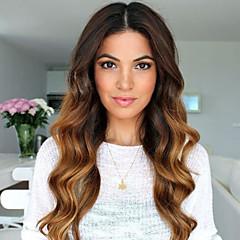 billiga Peruker och hårförlängning-Äkta hår Spetsfront Peruk Brasilianskt hår Kroppsvågor Frisyr i lager Med babyhår Med lugg 130% Densitet obearbetade 100% Jungfru