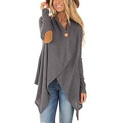 Damen Einfarbig T-shirt, V-Ausschnitt Lose Baumwolle Kunstseide
