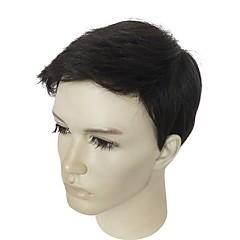 billiga Peruker och hårförlängning-Syntetiska peruker Kinky Rakt Frisyr i lager Syntetiskt hår Naturlig hårlinje Svart Peruk Herr Korta Naturlig peruk / Celebrity Wig Utan