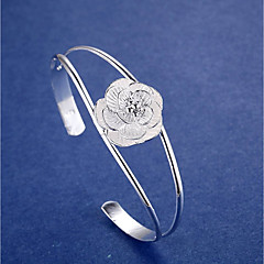 Women's Cuff Bracelet Simple Style Elegant Silver Flower Jewelry For Wedding Party