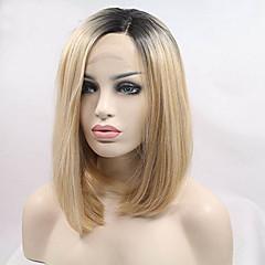 billiga Peruker och hårförlängning-Syntetiska snörning framifrån Rak Bob-frisyr Syntetiskt hår Mörka hårrötter Blond Peruk Dam Korta Cosplay Peruk / Naturlig peruk / doll